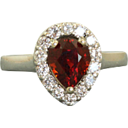 Estate 14 K Spess Garnet and Diamond Ring
