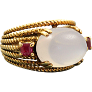 Estate Retired Designer Lotos 7 CT Moonstone and Ruby Ring