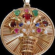 Estate 1950's 14 K Basket Emerald Sapphire Ruby Garnet Pearl Charm