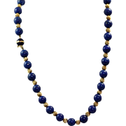 "Estate 24"" 14 K Lapis Necklace"