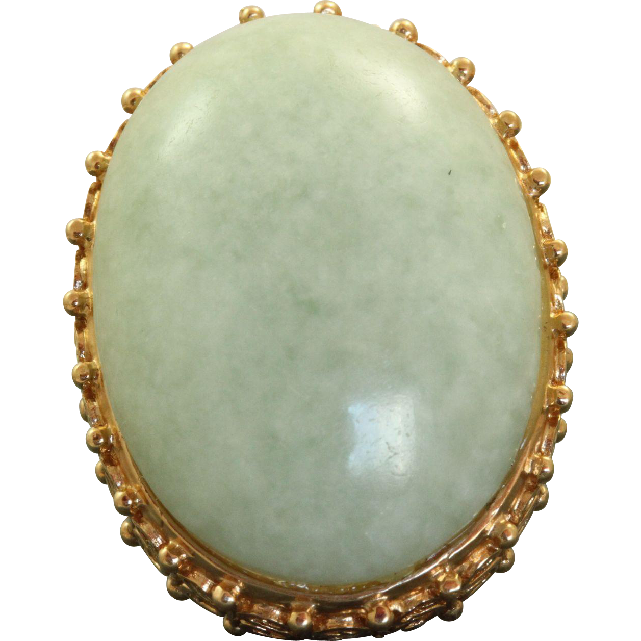 Estate 14 K @40 CT Jade Cabochon Cocktail Ring