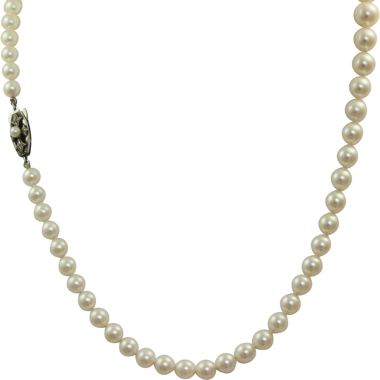 """Mikimoto Pearls Necklace: Vintage Mikimoto 20"""" Graduated Pearl Necklace With"""