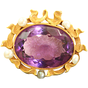 14 K Carter Gough & Co Amethyst Pearl Art Nouveau Brooch