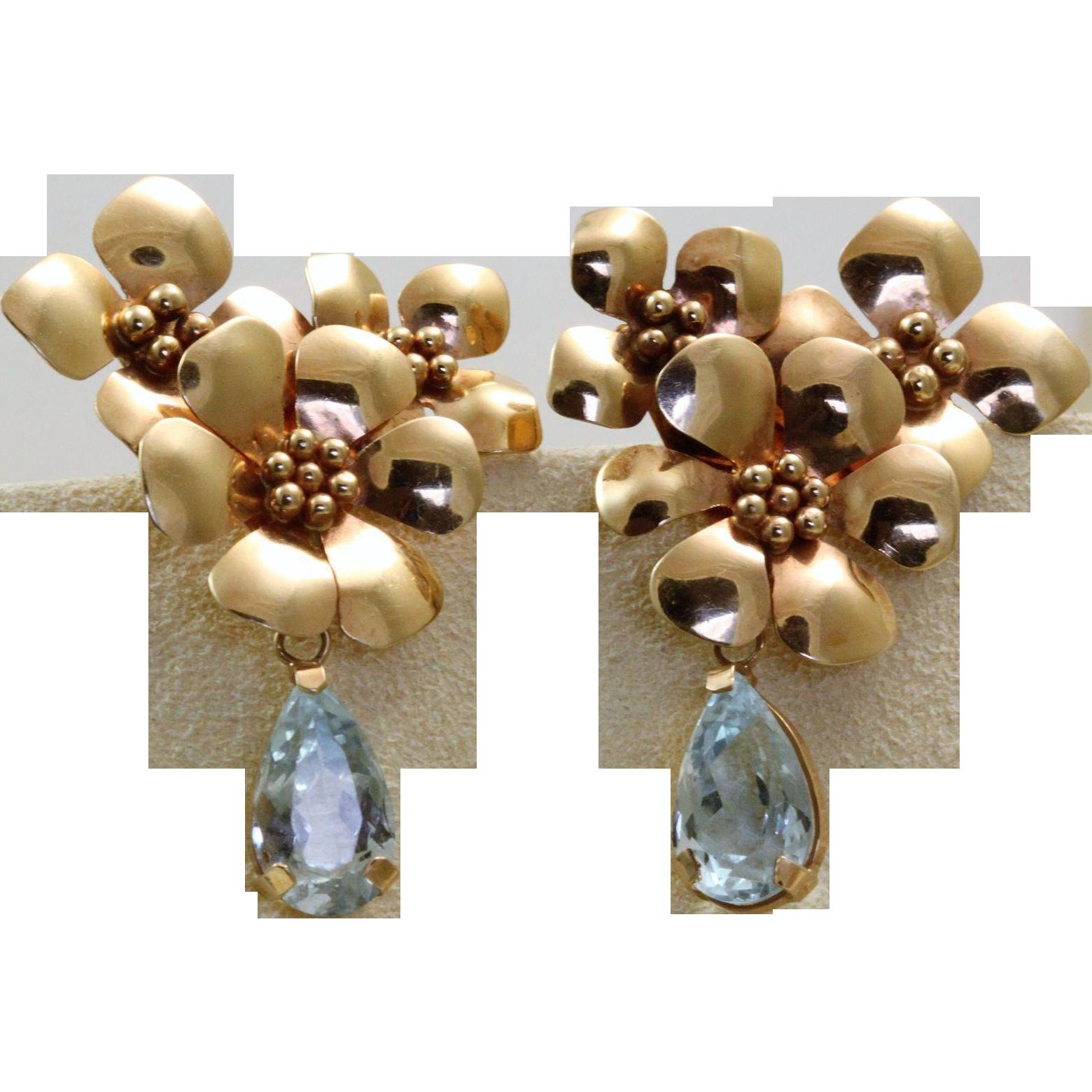 Estate 14 K Rose Gold Designer Aqua Earrings