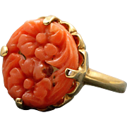 Vintage 14 K Carved Coral Ring
