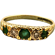 18 CT Birmingham Emerald and Diamond Five Stone Ring