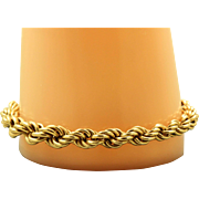 Estate 14 K Gold Large Twisted Rope Bracelet