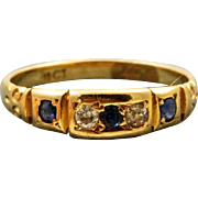 Estate 18 K Diamond and Sapphire Five Stone Ring