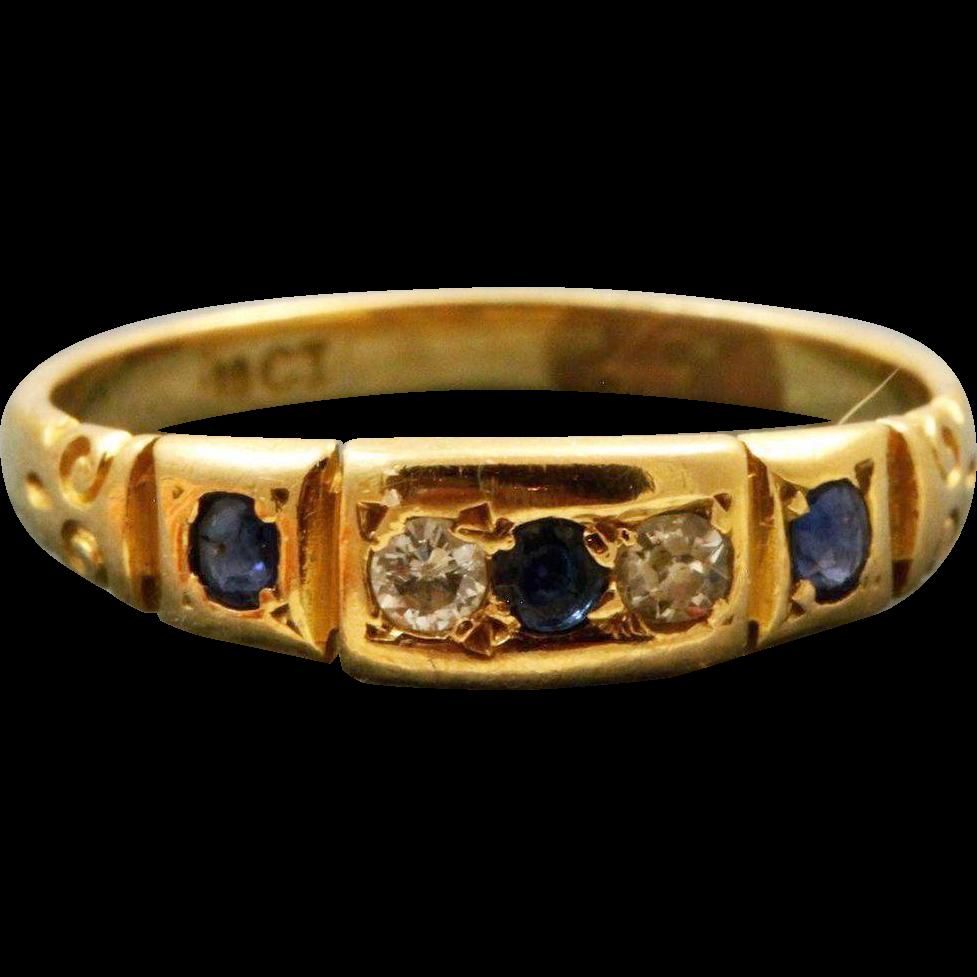Estate 18 K Diamond and Sapphire Five Stone Ring