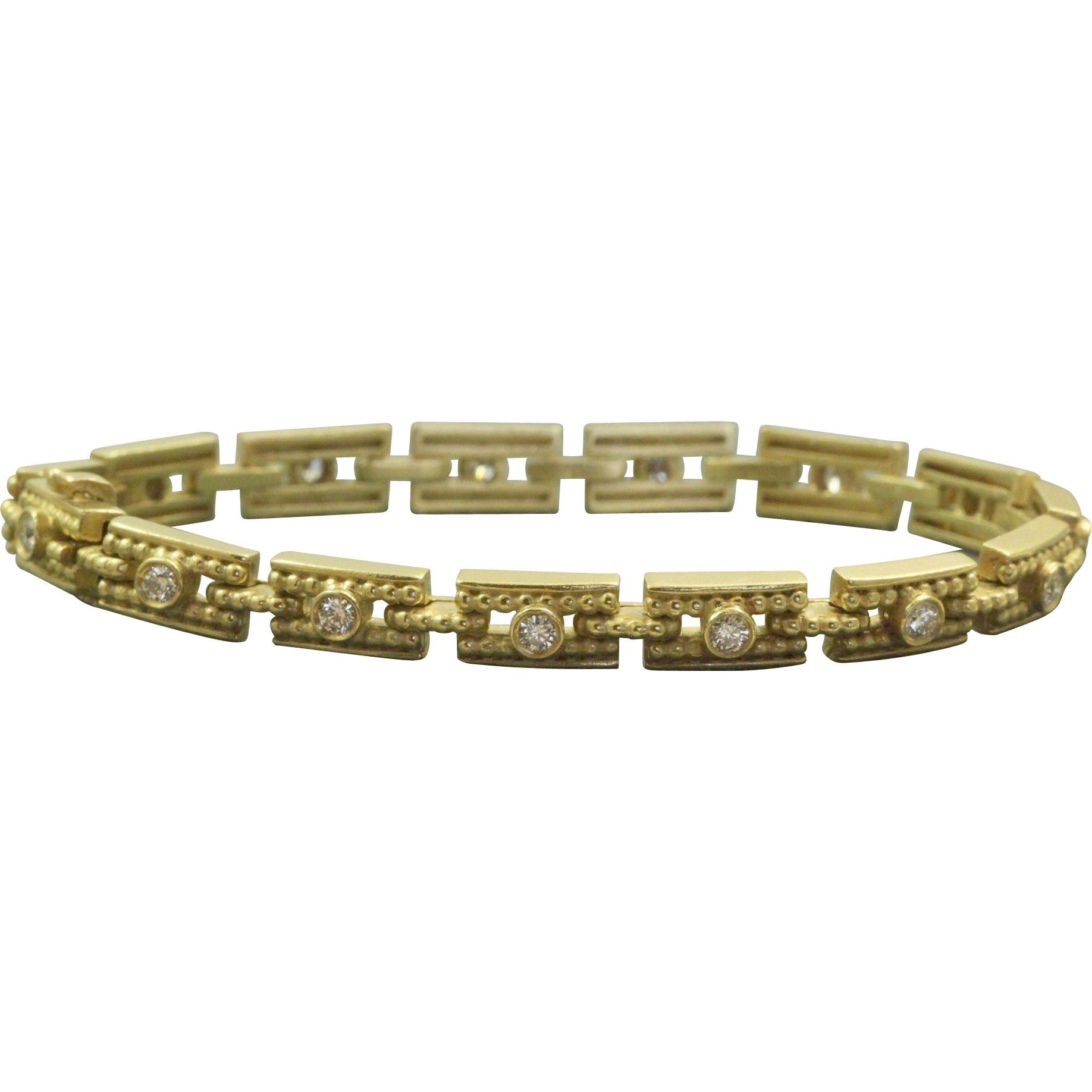 Estate 18 K Etruscan Revival 1 CT Diamond Bracelet