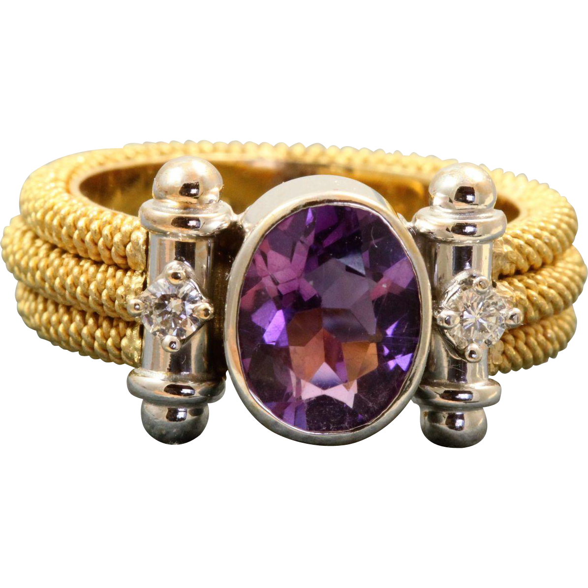 Estate 18 K Two Tone Modernist Amethyst Diamond Ring