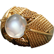 Estate 18 K 3 CT Moonstone Textured Ring
