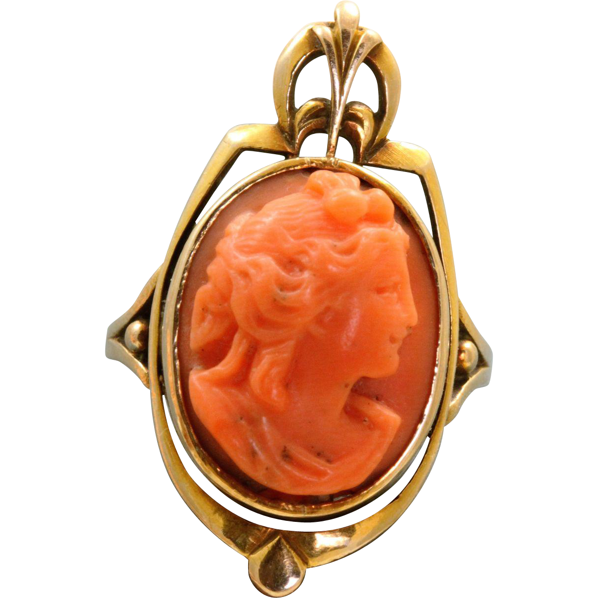 Vintage 14 K Coral Cameo Ring