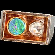 Estate 14 K Scandinavian Modernist 0.85 CT Rose Cut Diamond Opal Ring