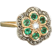 Estate 14 K Rose Gold Rose Cut Diamond and Emerald Ring