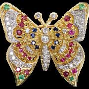Estate 18 K/Platinum 1960's Diamond Emerald Ruby Sapphire Butterfly