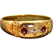 Late 19th Century 18 K Diamond Ruby Band