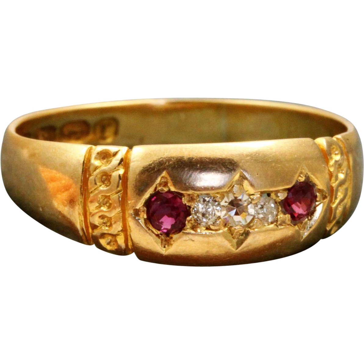 Late 19th Century 18 K Diamond Ruby Band