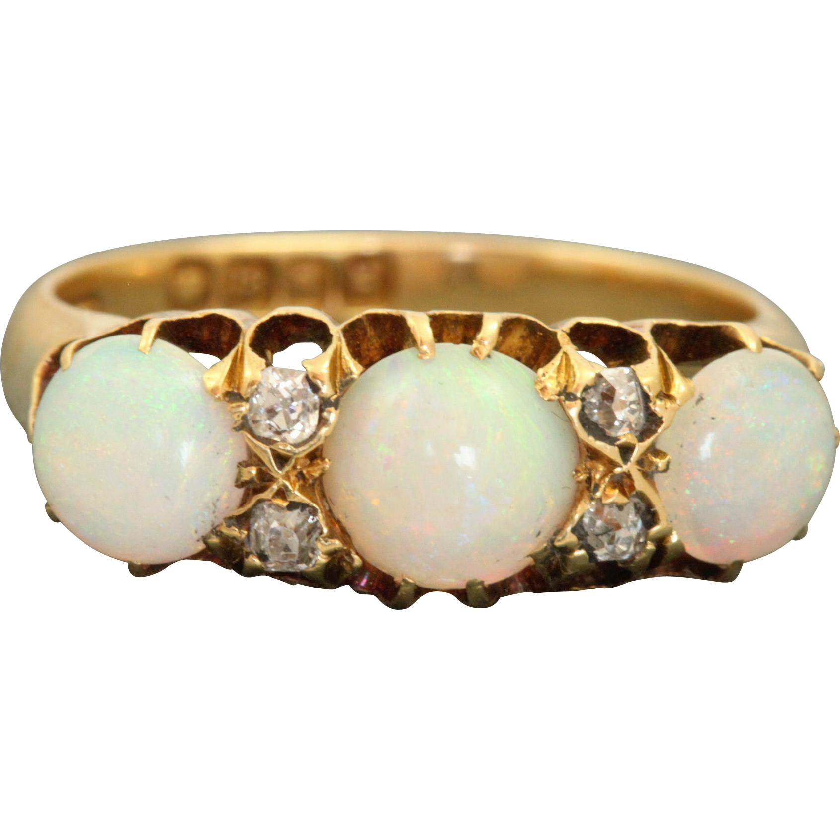 18 CT 1902 London 2.5 CT Opal and Diamond Ring