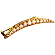 15 CT Seed Pearl Crescent Pin
