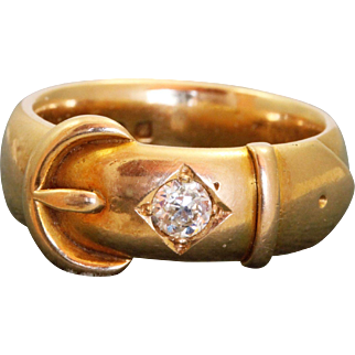 18 CT 0.24 CT Diamond Buckle Ring, Birmingham 1874
