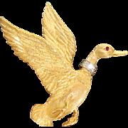 18 K/Platinum Diamond and Ruby Mallard Duck