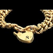 London 1908 15 C/9C Curb Link Heart Lock Bracelet
