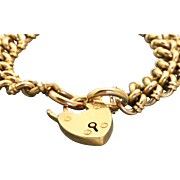 London 1908 15 C/9C Curb Link Heart Lock Bracelet