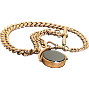 Early 20th Century 9 C Albert Chain with 'T' Bar and Swivel Fob