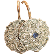 Estate European 14 K Diamond and Sapphire Earrings