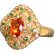 Estate 14 K Spessartine and Uvarovite Garnet and Diamond Ring