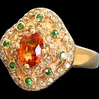 Estate 14 K Spessartine and Uvarovite Garnet and Diamond Ring