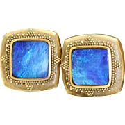 Estate 18 K Etruscan Black Opal Earrings