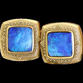 Estate 18 K Etruscan Black Opal Earrings