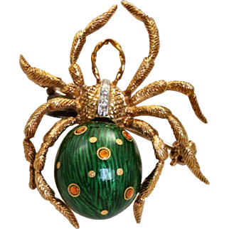 Estate 18 K Diamond Enamel Spider