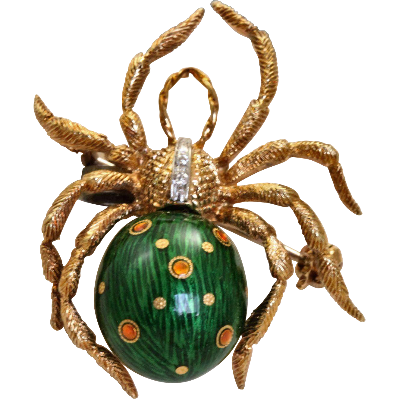 Estate 18 K Diamond Enamel Spider
