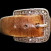 Estate Sterling Vermeil Diamond Buckle Ring