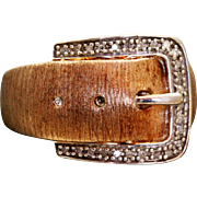 Estate Sterling Vermeil Diamond Buckle Ring