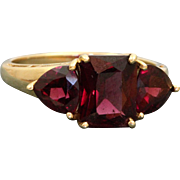 Estate 14 K Rhodalite Garnet 3 Stone Ring