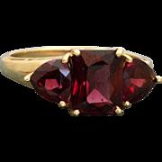 Estate 14 K Rhodalite Garnet 3 Stone Ring