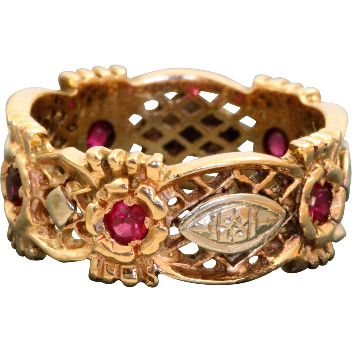 1940's 14 K Spinel Open Work Band