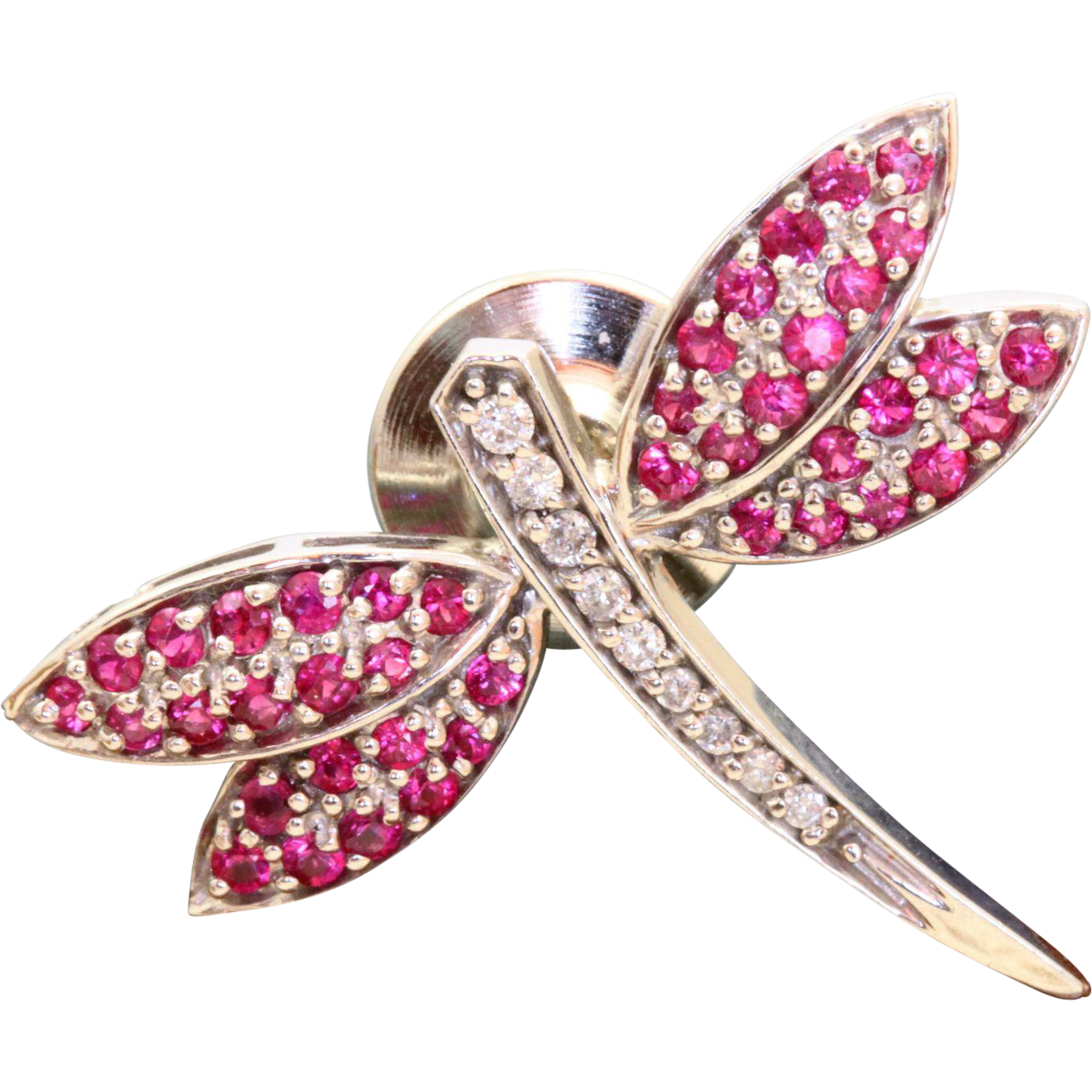 Estate 14 K Diamond and Pink Sapphire Firefly Pin