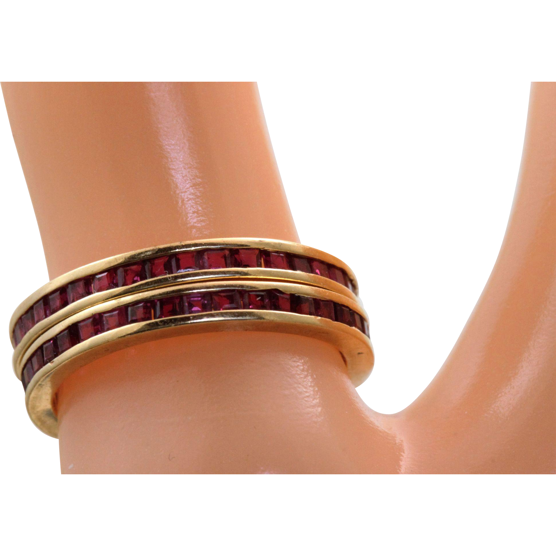 14 K Square Cut Ruby Ring Guards