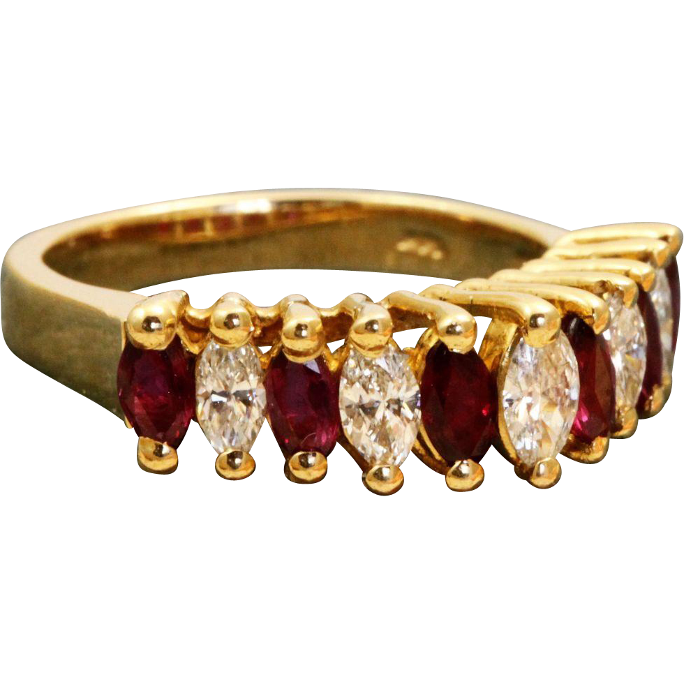 Estate 14 K 1970's Ruby and Diamond Pyramid Ring