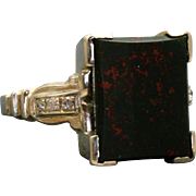 Estate 1920's 14 KW Bloodstone Diamond Ring