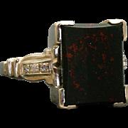 Estate 1920's 14 KW Bloodstone Diamond Ring