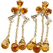 Estate 10 k 8 CT Citrine Dangle Earrings