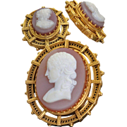 Estate 14 K Etruscan Revival Cameo Brooch and Earrings
