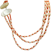 Estate Salmon Coral and Mother of Pearl Three Strand Necklace