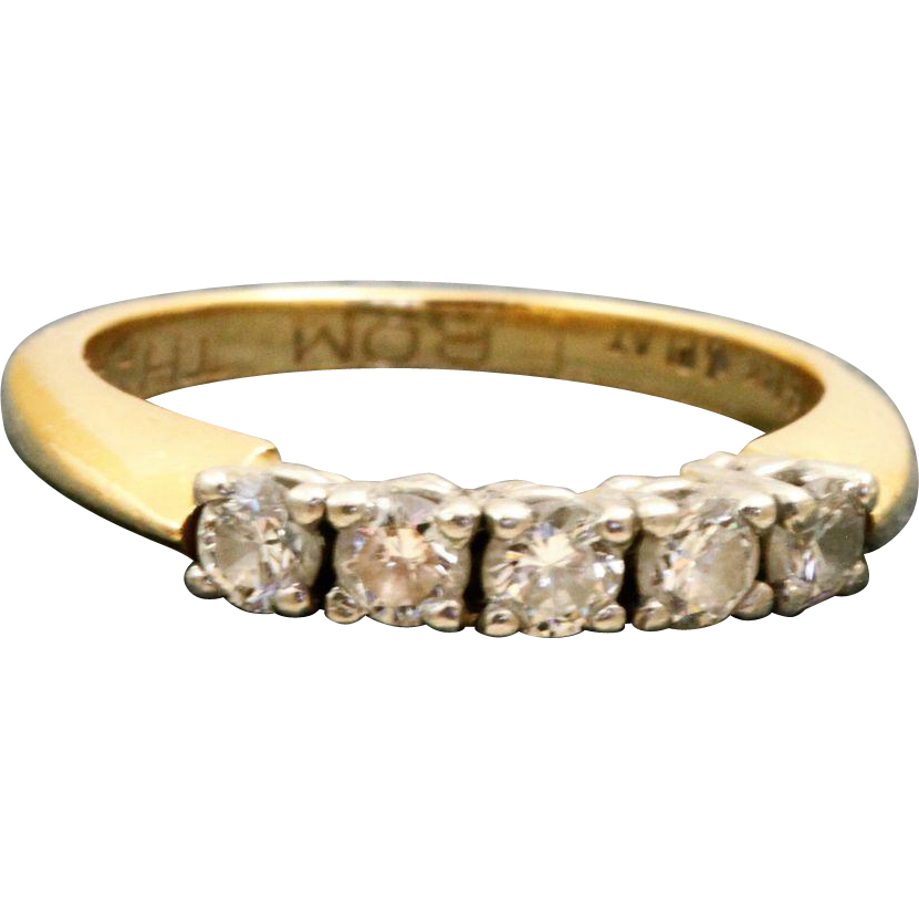 Estate 14 K/Platinum 0.40 CT Diamond Band